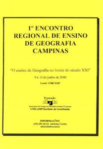 Cartaz do 1º Encontro Regional de Ensino de Geografia, realizado em 2000